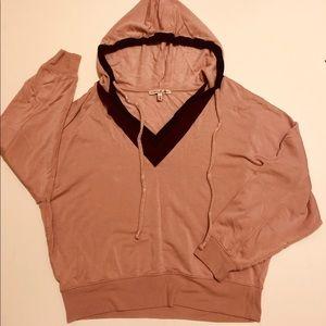 Express One Eleven color block hooded sweatshirt